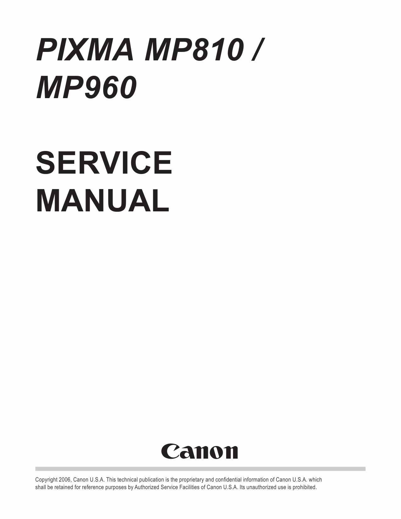 Canon Pixma Mp810 Mp960 Service Manual